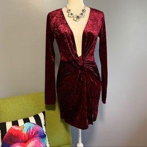 Tobi Velvet Snow Wine Bodycon Plunge Dress B9